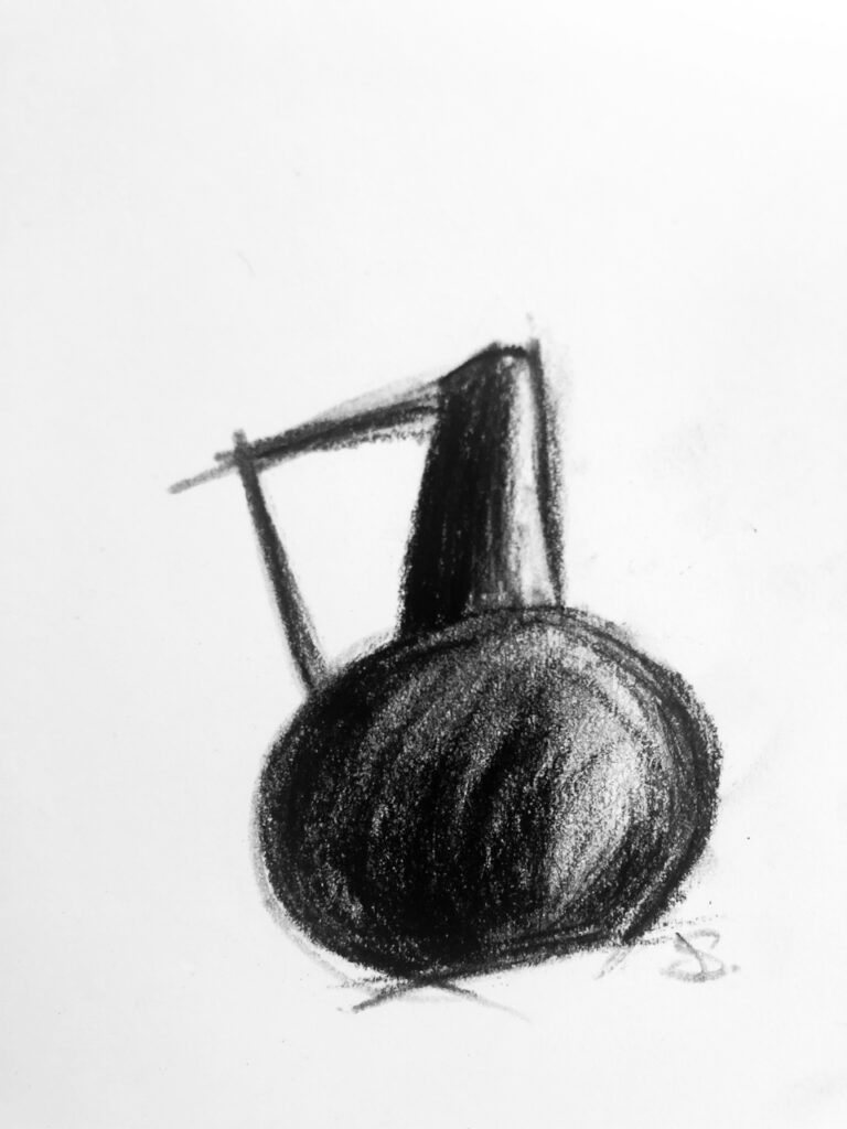 metal vase drawing, charcoal on paper