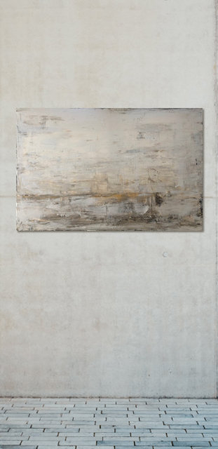 whitstable acrylic painting hanging on concrete wall