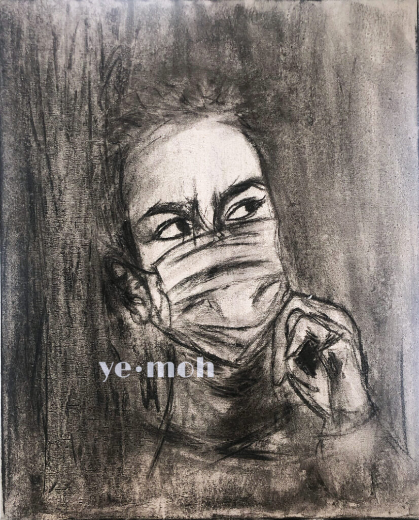 keyworker wearing gloves and a mask during COVID-19, charcoal on canvas